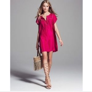 Calypso St Barth Tonsiya Hot Pink Silk Boho Dress